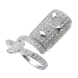 Nail discouNt online shopping - 925 sterling Silver Explosion models Nail ring S White Cubic Zirconia Best Sellers Recommend Time limited discount Punk
