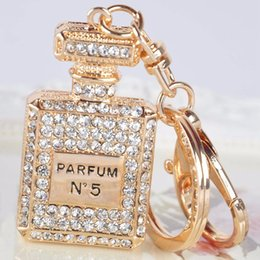 Water Bottles For Boys Canada - 1Pc White Pink Rhinestone Crystal Perfume Bottle Key Ring Keychain Purse Bag For Girls Handbag Charm Pendant Key Chain Gifts