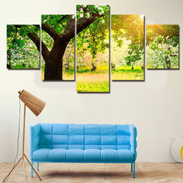 $enCountryForm.capitalKeyWord Australia - 2016 Hot 5 Panels Green Tree Sunset Painting Canvas Wall Art Picture Home Decoration Living Room Canvas Print Modern Painting
