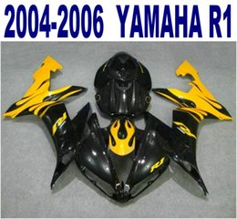 Fairing R1 Yellow Canada - Injection molding Customize fairing kit for YAMAHA 2004-2006 YZF R1 black yellow fairings set yzf-r1 04 05 06 bodywork VL51