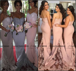 Lavender Blush Wedding Dress Canada - 2016 Hot Fashion Peach Blush Mermaid Beach Bridesmaid Dresses Lavender Spaghetti Backless Lace Train Maid of Honor Wedding Guest Cheap Gown