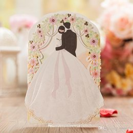 Discount fold lace wedding dress Personalized Wedding Invitations Cards White Color With Hollow Lace Gold Dress Bridal and Groom Laser Cut Party Cards