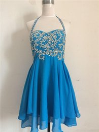 Barato Vestido Curto Do Chiffon Dos Beadings-2016 Fashion Short Homecoming Vestidos Cristais Beadings Chiffon Halter Neck Estilo Moderno Vestidos de baile Zipper back Custom Made H71