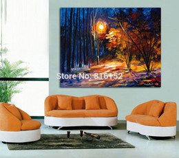 park paintings NZ - Palette Knife Painting Shadow On Snow Night Park Landscape Picture Printed on Canvas for Home Office Hotel Wall Art Decor