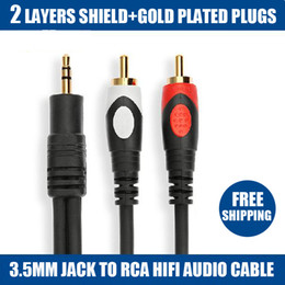 Mini Jack Connectors Canada - 2015 new limited 1.8m 6 ft tv micro connector mini usb 1.8m high quality jack 3.5mm to 2 rca for audio cable adapter male cabo ipod