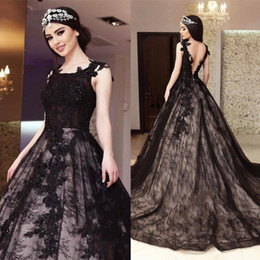 Barato Vestidos De Celebridades Árabes-Sexy Black Arabic Prom Dresses Jewel Neck Backless Lace Applique Beads Vestidos formais Ball Gown Celebrity Pageant Evening Gowns