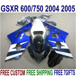 Motobike Kits Australia - Platic motobike parts for SUZUKI GSXR600 GSXR750 2004 2005 K4 fairing kit GSXR600 750 04 05 white blue black fairings set R16J