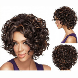 $enCountryForm.capitalKeyWord Canada - European and United States Ladies Short Curly Fluffy Hair Wigs Blonde Brown Synthetic Hair Cosplay Wigs Rose Net Heat Resistant Wig Caps