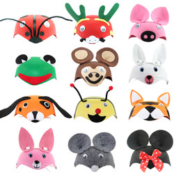 Barato Chapéus Animais Do Partido Para Miúdos-Cartoon Animais Kids Party Chapéus Natal Cosplay Performance Props Dia das Crianças Baby Festive Chapéus Bonés Halloween Supplies 20pcs / lot SD403