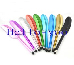 $enCountryForm.capitalKeyWord UK - Wholesale-Free shipping Legend Feather Stylus Pen Screen Touch Pen for iPad  for htc Capacitive Touch pen for  4g 4s