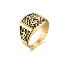Free masons rings online shopping - Fashion Free Mason Mens Gold Rings K Gold Plating Mens Rings High Quality EURO US MM Wide Casting Stainless Steel Rings