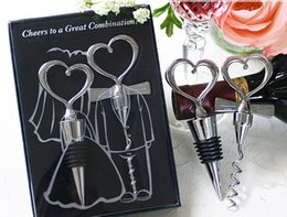 $enCountryForm.capitalKeyWord Canada - New 2016 Novelty Great Combination Wedding Favors Heart Wine Bottle Stopper Opener Supplies Luxury Gift Box Packing Free Shipping