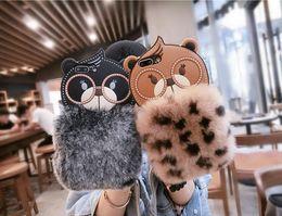 Bored Hair UK - cartoon Bear warm Fur winter cover Rex rabbit hair Case Hair Fluffy For Iphone X 8 7 6 6S Plus