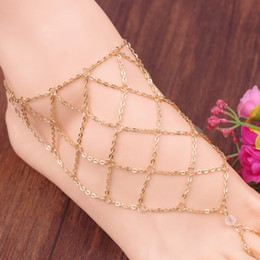 Wholesale Fashion Fishing mesh anklet lozenge chain mittens anklet alloy women Instep barefoot sandals chain beach foot jewelry cheap