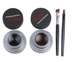Discount flower cosmetics - High quality Music Flower Eyeliner 2 in 1 Brown + Black Long-wear 24hours Gel Eyeliner Make Up Waterproof Cosmetics Set