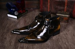 $enCountryForm.capitalKeyWord Canada - British Style Ankle Boots Male Metal Pointed Toe Lustrascarpe Color Buckle Slip-On Mens Fashion Martin Motorcycle Boots