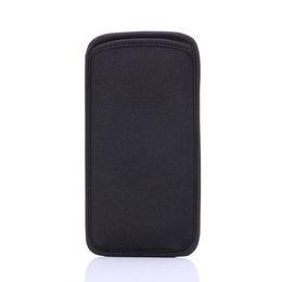 Pochette noire souple en néoprène élastique pour pochette de protecteur protège les cas de téléphones portables pour iPhone 6S et Samsung Galaxy S6 Edge en Solde