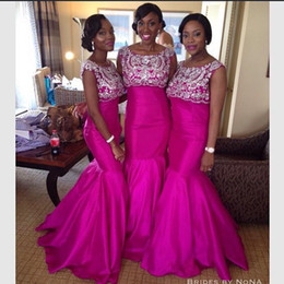 Discount Fuschia Pink Mermaid Bridesmaid Dresses | 2017 Fuschia ...