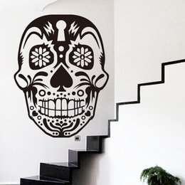 skull decor for halloween Canada - baby stickers for walls art home decor cheap vinyl sugar skull wall sticker removable house decoration PVC skeleton decal in bar or shop