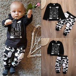 Pandas De Bebé Baratos-Al por mayor-2pcs Outfit Set Infant Baby Baby recién nacido niño niña Little Heart manga larga camiseta Top + Panda Legging pantalones largos Outfit