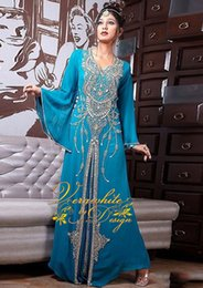Barato Tops Islâmicos-Top Sellig Abaya Blue Kaftan Vestidos de noite Poet Sleeves Chiffon com contas Zipper Back Custom 2016 Dubai Islamic Party Gowns