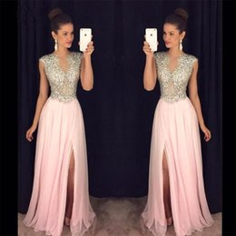 Barato Vestido Rosa China Formal-Pink Prom Dresses Beading Crystal Jewel Neck Chiffon A Line Sweep Train Formal Evening Wear Vestidos Mulheres Dress Party Vestido De Noiva China