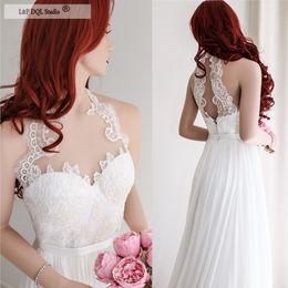$enCountryForm.capitalKeyWord NZ - Ivory Chiffon Wedding Dresses Lace Top Halter Sheer Neck Sleeveless Hollow Back Sweep Train Romantic Style Custom Made Plus Size