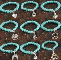 $enCountryForm.capitalKeyWord Canada - Vintage Silver I love cat dog Elephant life Tree Pentagram hand flower Charms Turquoise Stone Bracelet Beads Bangle For Women DIY Jewelry