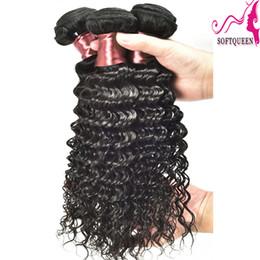 Peruvian Deep Curly Wavy Hair Canada - 7a Human Hair Weave 3 or 4pcs lot Brazilian Peruvian Indian malaysian Virgin hair Deep Wave 100% Brazillian Hair Weave Bundles Curly Wavy
