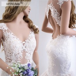 unique mermaid wedding dress train 2019 - Unique Mermaid Wedding Dresses Sexy Illusion Sheer with Applique Open Back Pleats Tulle Sweep Train Bridal Gowns Plus Si
