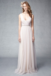 Bridesmaid Pleated Sashes Canada - Blush Pink Chiffon V Neck Bridesmaid Dresses 2015 Beaded Wedding Party Dresses For Bridesmaid with Sash Pleated Bridesmaids Gowns