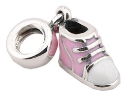 Pandora ale 925 dangles online shopping - Sterling Silver Charms Ale Enameled Pink Shoes Dangled European Charms for Pandora Bracelets DIY Beads Accessories