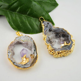 $enCountryForm.capitalKeyWord Canada - Druzy 6PCS Gold Plated Edge , Agate Geode Drusy quartz Charms Pendant Jewelry Finding