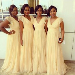 Light Orange Chiffon Canada - Chiffon Bridesmaid Dresses Light Yellow Formal Party Gowns 2016 Occasion Dress A-Line V-Neck Capped Prom Evening Maid of Honor Wedding Guest