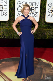 Robes Sexy Inspirées De Célébrités Pas Cher-Inspiré par Elie Saab Golden Globe Award Red Carpet Celebrity Dresses 2016 Robes Kate Winslet Royal Blue Sexy Robes de soirée Prom Party