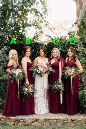 Discount autumn orange bridesmaid dresses 2017 Modern Burgundy Tulle Boho Country Long Bridesmaid Dresses Florals Autumn Garden Wedding Party Guest Gowns Elegant