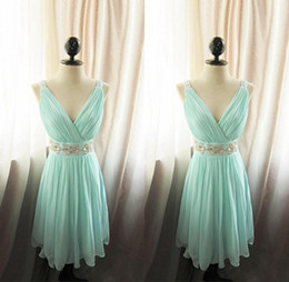 Bridesmaid Pleated Sashes Canada - Charming Pleated V-Neck A-Line Chiffon Bridesmaid Dress With Crystal Sash Short Maid Of Honor Dresses Sky Blue Mint Custom Made Plus Size