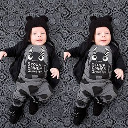 Barato Trajes De Bebê Por Atacado-Atacado- Newborn Baby Boy Girl Toddler Monster Letter Printed T-shirt Tops + Calças Leggings 2pcs Outfits Set Costume 0-24