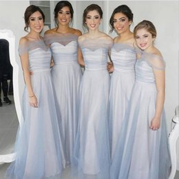 Barato Vestidos De Dama De Honra Simples-New Simple Dusty Blue Damas de honra Dresses 2018 Off Shoulder Plisses A Line Floor Length Plus Size Maid of Honor Country Wedding Guest Gowns