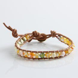 Wear Bracelet Australia - 2015 Hot Sale Handmade natural stone needle wear yellow Fashion Jewelry Wholesale Leather I fire agate bracelet jewelry