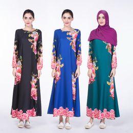 a2a7e65e2d New style elegant muslim dress big rose printing new Muslim national dress  digital printing Muslim women abaya