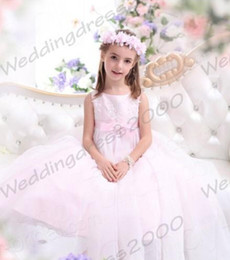 Organza Wraps For Wedding Dress Canada - Floor Length Long A-Line Jewel Organza Flowers Girls Dresses For Wedding Pink Applique Princess Kids Formal Wear Zipper Custom