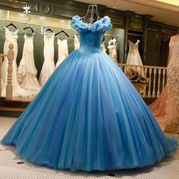 Barato Imagens Lavanda Vestidos De Noite-Imagem real Cinderella Ocean Blue Quinceanera Prom Dresses Off Shoulders Beaded Butterfly Organza Long Backless Ball Gown Evening Party Gowns