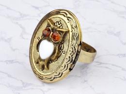 $enCountryForm.capitalKeyWord NZ - Adjustable vintage Art Deco bronze owl locket ring Cute Rhinestone Owl Head Rings
