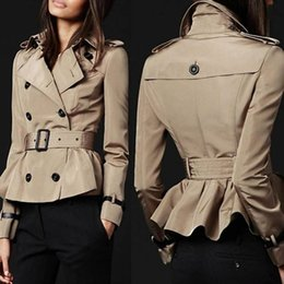 Discount Short Slim Trench Coat Women | 2017 Short Slim Trench ...