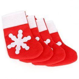 thin knives 2019 - Snowflake Christmas stocking Christmas decoration Cutlery bag Silverware Holder Knives and Forks Pocket Sock Candy gift