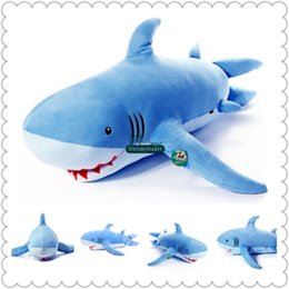 Dorimytrader 55'' 140cm Large Stuffed Soft Animal Shark Doll Jumbo Lovely  Cartoon Baby Toy 2 Colors Nice Kids Gift Free Shipping DY60975