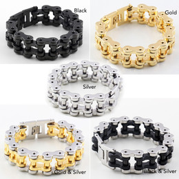 $enCountryForm.capitalKeyWord NZ - Men Heavy Sturdy Bike Chain Motorcycle Chain Bracelet of Stainless Steel, Silver & Gold , Black , Silver,Silver & Gold,Gold High Polished