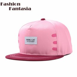 Barato Bonés Do Snapback Design Bonito-Atacado-2015 New Chegou Womens Hip Hop Snapback Baseball Caps Hat So Cute Cat Ajustável Rua Hat Design For Women