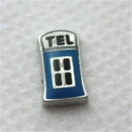 Gift Telephone Canada - 2015 Hot selling fashion blue telephone floating charm fit living floating lockets charms fruit charm co